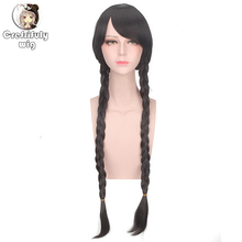 80cm 32inch Long Black Braided Wigs For Women Synthetic Hair Halloween Costume Cosplay Wig With Bangs High Quality