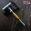 Titan maquinilla de afeitar, mango de metal de color diffrent safety razor doble filo de la cuchilla de afeitar