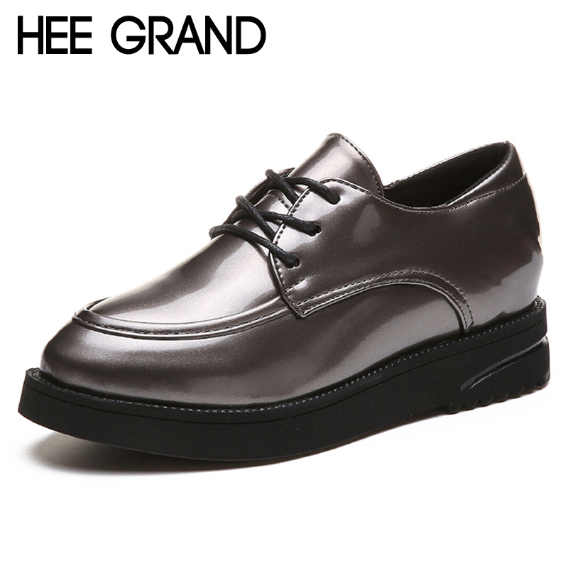 HEE GRAND Platform Casual Shoes Woman Oxfords Sliver Pu Patent Leather Wedges Women Shoes Round Toe Creepers Women Flats XWD6897 beffery 2018 spring patent leather shoes women flats round toe casual shoes vintage british style flats platform shoes for women