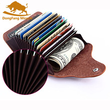 цены Genuine Leather Unisex Business Card Holder Wallet Bank Credit Card Case ID Holders Women cardholder porte carte
