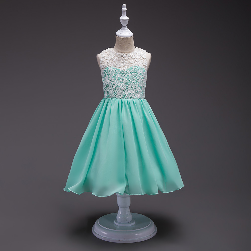 8 colors european style kids summer birthday prom party princess flower girl dresses lace mint dress for girls aged 3 to 13 lace flower girl dress europe and the united states style silk belt princess kids dresses girls party dress for 2 8t