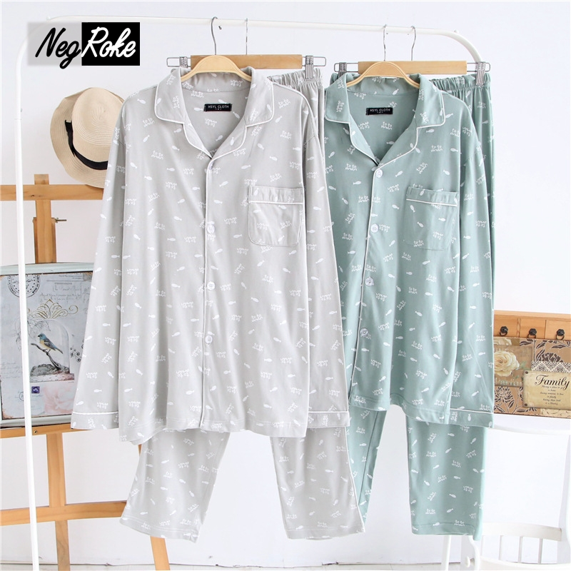 2017New Spring Japanese 100% brushed cotton pajamas sets men simple sleepwear mens casual keep warm pyjama homme for men pijamas