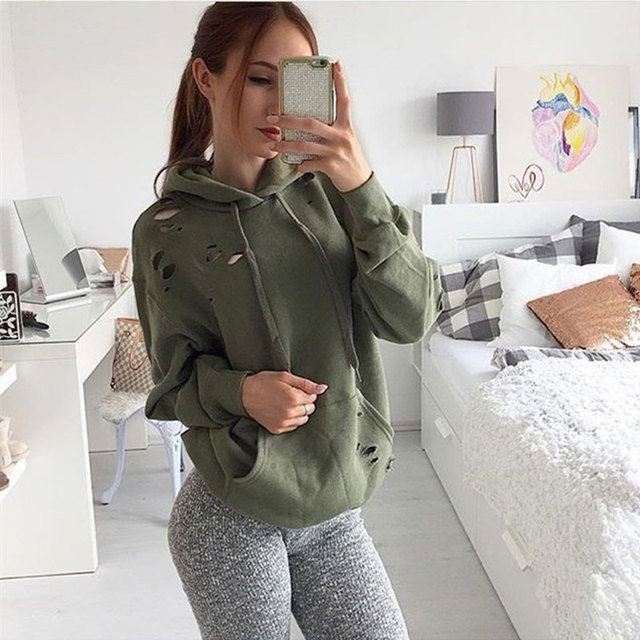 2017 Casual Sweatshirt Women Hoodies Long Sleeve Pullovers Women Hooded Sweatshirt Outerwear Hole Hoodies For Women With Pockets
