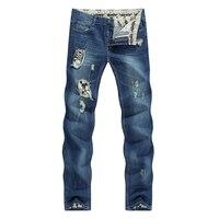 Nieuwe Schedel Karakter Designer Jeans Mannen Tapered Slanke Europa Amerikaanse Stijl Blauw Potloden Retro Grijs Vintage Ripped Gebroken Broek