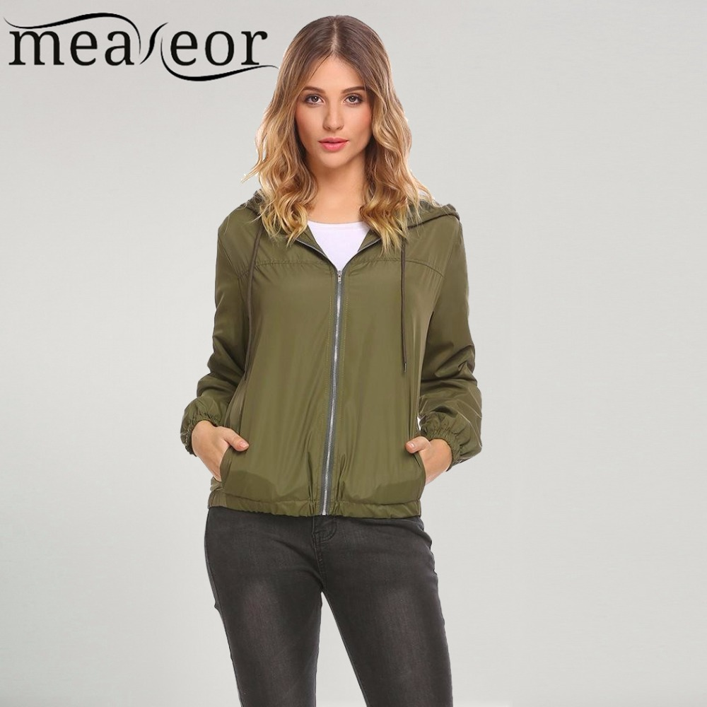 Meaneor Women   Jackets   Casual Drawstring Hooded Long Sleeve Solid Elastic Hem and Cuffs   Basic     Jacket   Outwear Zipper Pocket Tops