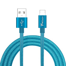 Twitch Ultra Durable Nylon Braided Wire Metal Plug Data Sync Charging Data Phone USB Cable for iPhone 7 6 6s Plus 5s 8 iPad Air