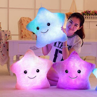 Colorful Body Pillow Star Glow LED Luminous Light Pillow Cushion Soft Relax Gift Smile Body Pillow