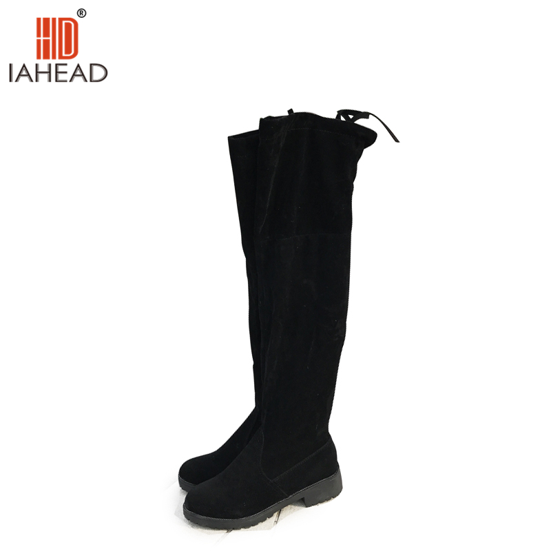 IAHEAD  Boots Sexy over the knee high Suede women snow boots women's fashion winter thigh high boots shoes Slim woman UPC144 ppnu woman winter nubuck genuine leather over the knee snow boots women fashion womens suede thigh high boots ladies shoes flats