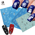Sara Nail Salon 1PCS Snowflakes Christmas Style Water Nail Art Sticker Tips Decals Manicure DIY X'mas Stickers NJ185