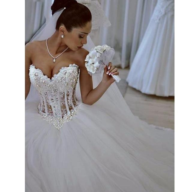 Luksusowe Sexy Bez Ramiączek Suknie ślubne Gorset Gorset Sheer