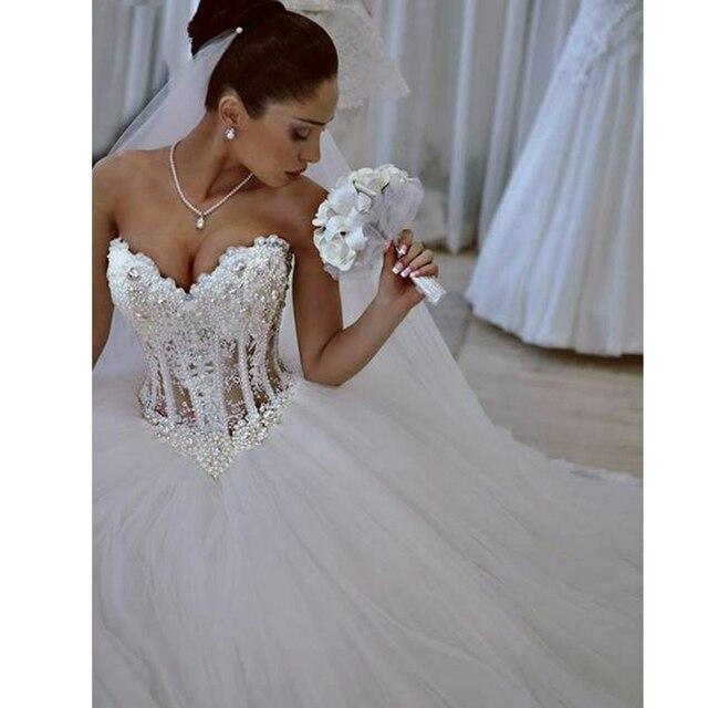 code promo b53d2 a7241 € 176.02  Luxueux sexy Sans Bretelles robes De Mariée Corset Corsage Sheer  Nuptiale Cristal Perle Perles Tulle Robes De Bal De Mariage dans Robes De  ...