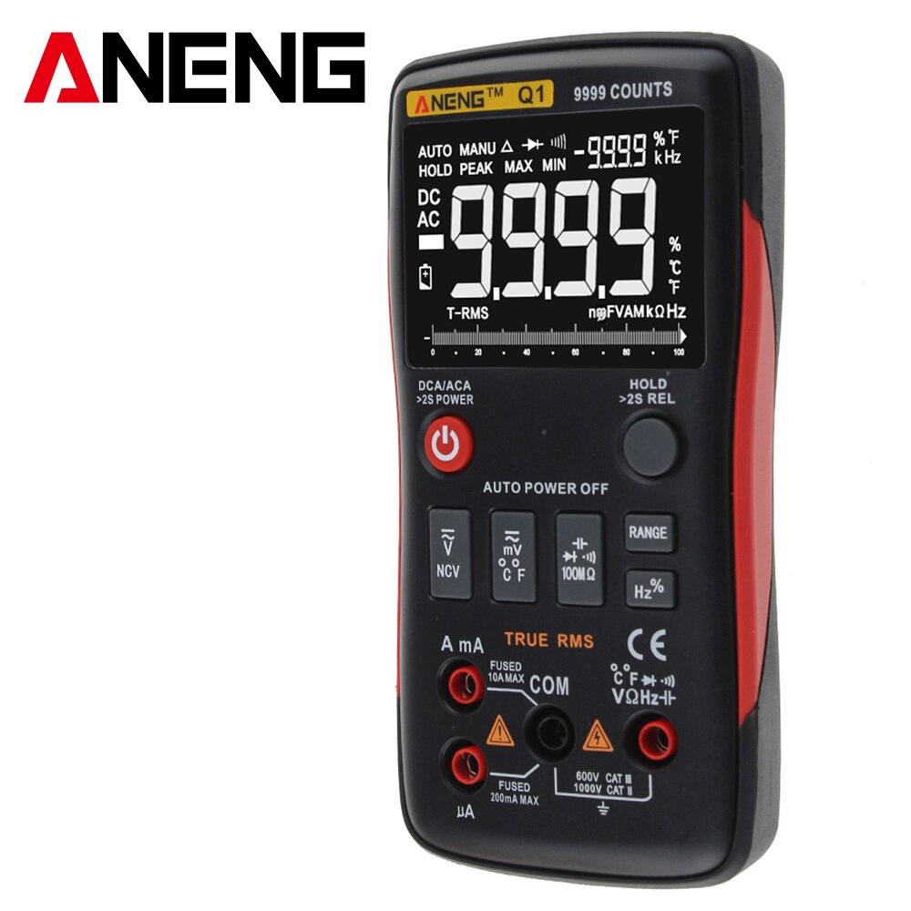 ANENG Q1 multímetro Digital de verdadero botón 9999 cuenta con analógico Bar gráfico AC/tensión DC amperímetro actual Ohm Auto/Manual