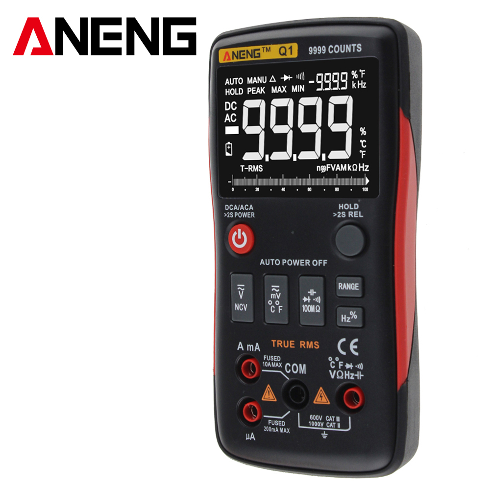 Pulsante ANENG Q1 True-RMS Multimetro Digitale 9999 Conti Con Grafico a Barre Analogico AC/DC Tensione Amperometro Corrente Ohm Auto/Manuale