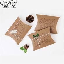 Art Retro Pattern kraft Paper Pillow Shape Candy Box Christmas Gift Packing Bag Wedding Favors Baby Shower Birthday New Year