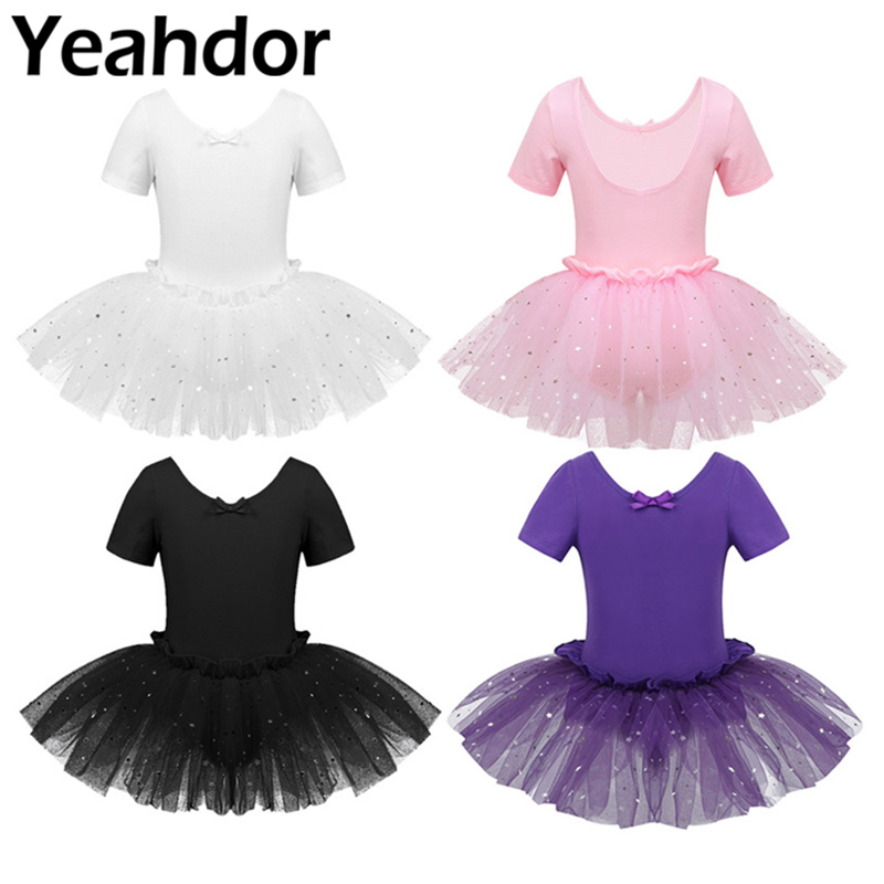 US Girls Ballet Dance Dress Gymnastics Long Sleeves Sequined Leotard Tutu Skirts