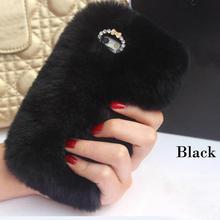 Genuine Rabbit Hair Furry Case For Apple iPhone 7 7plus 6 6s 6g Plus 5 5s Fur Rhinestone Bling Plush TPU+PC Soft Silicone Case