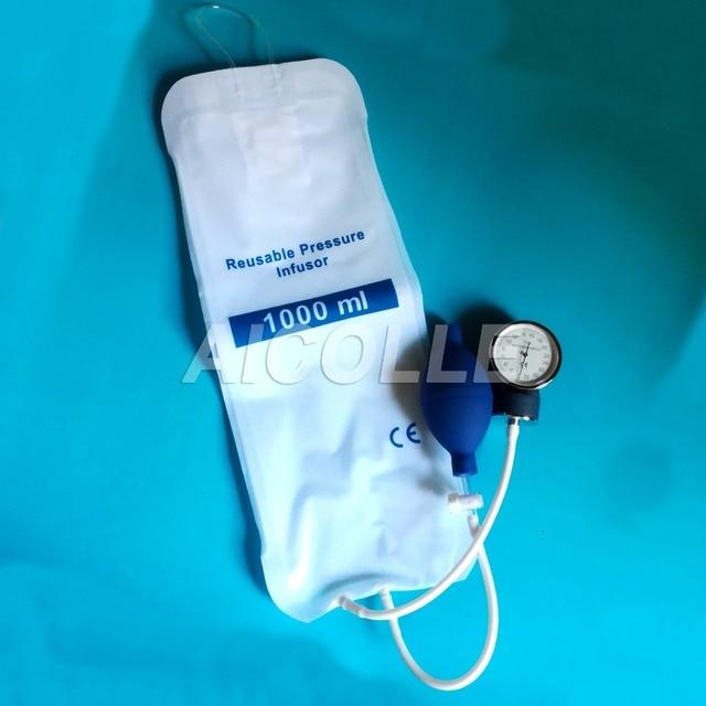 00cf45935 5 piezas lot presión médica bolsa de infusión 1000 ml con manómetro y bomba  de mano