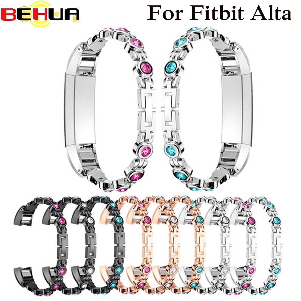 Genuine Stainless Steel Watch Bracelet wrist Band Strap For Fitbit Alta with Rhinestone Watchband Correas de reloj High Quality