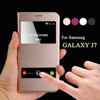 Mobile Phone Funda For Samsung Galaxy J7 J700F Cover Flip Case Leather Window Smart Calling For