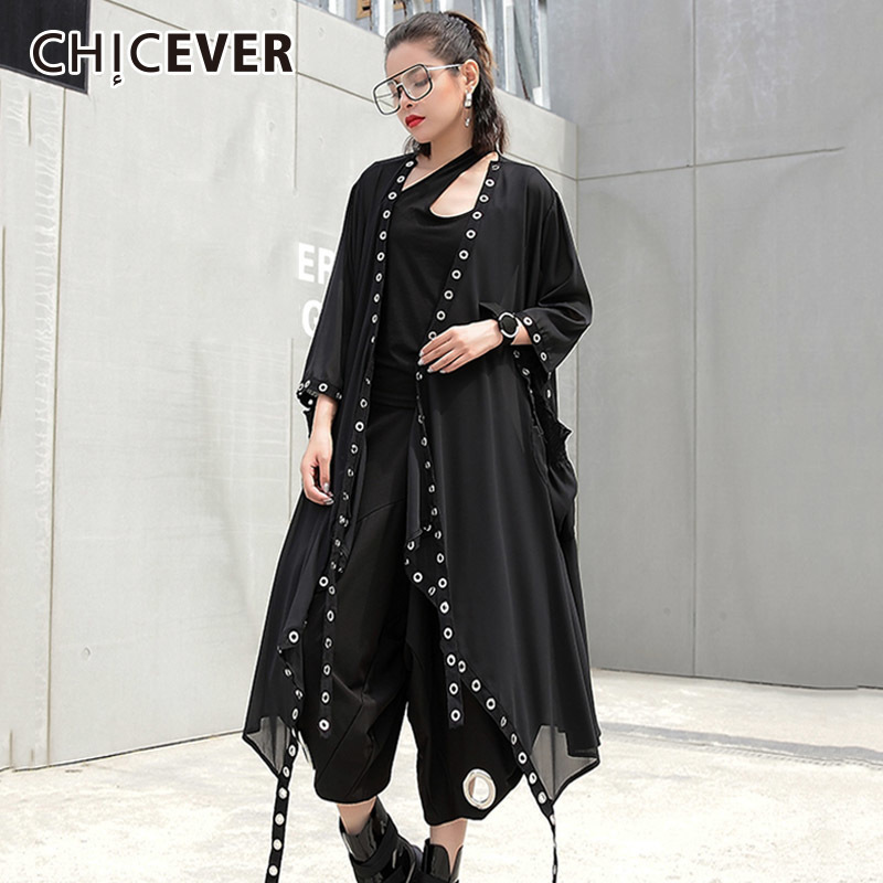 CHICEVER 2018 Summer Womens Blouse Shirt Patchwork Metal Ring Chiffon Loose Oversize Shirts Blouses Clothes Fashion Casual New