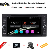 4+32G Octa Core Android 8.0 car radio for Toyota Corolla EX Universal Fortuner Hilux car dvd player with steering wheel,GPS RDS