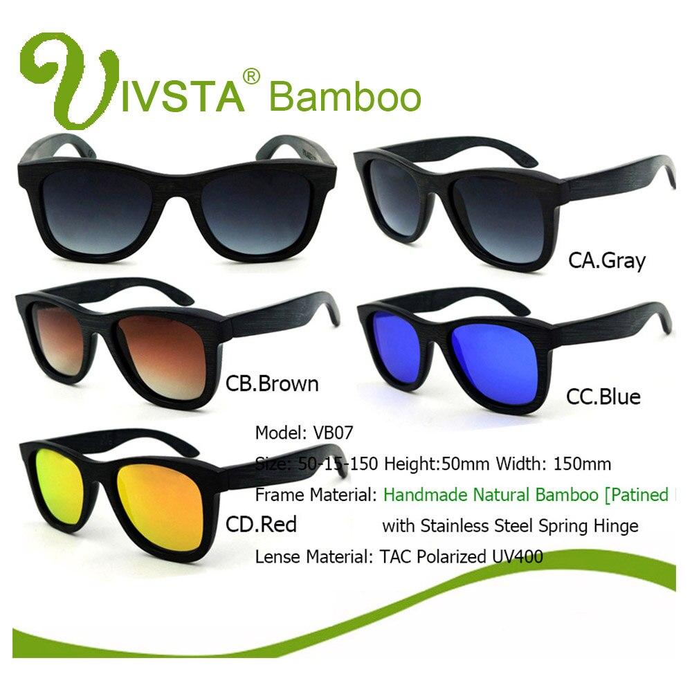 f963698a61 IVSTA Natural Bamboo Sunglasses Black Brush Bambu Polarized Lenses Wooden  Sunglasses Men Real Dropshipping OEM Mirror VB07-in Sunglasses from Apparel  ...