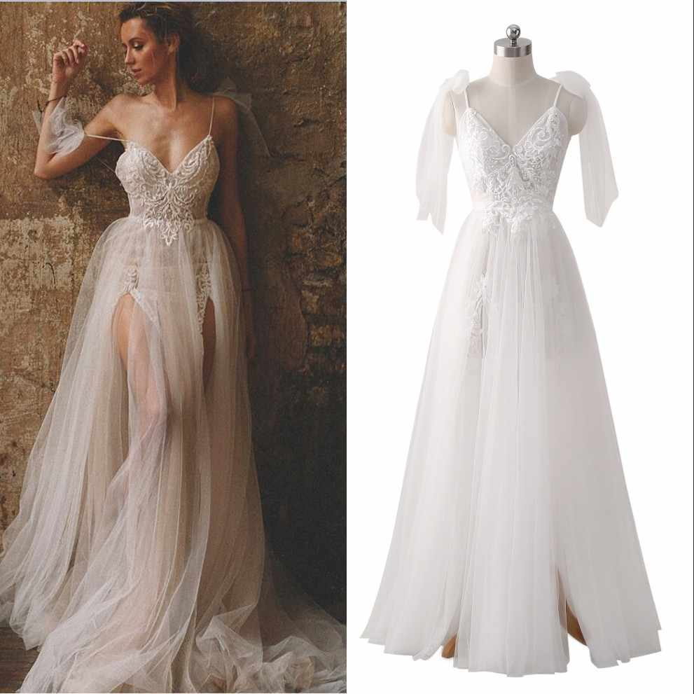 dd0974018a1 Detail Feedback Questions about 2019 New Boho Wedding Dresses Bridal Dress  With A line Spaghetti Straps Backless Sequins Beads See Through Lace Tulle  Bow ...