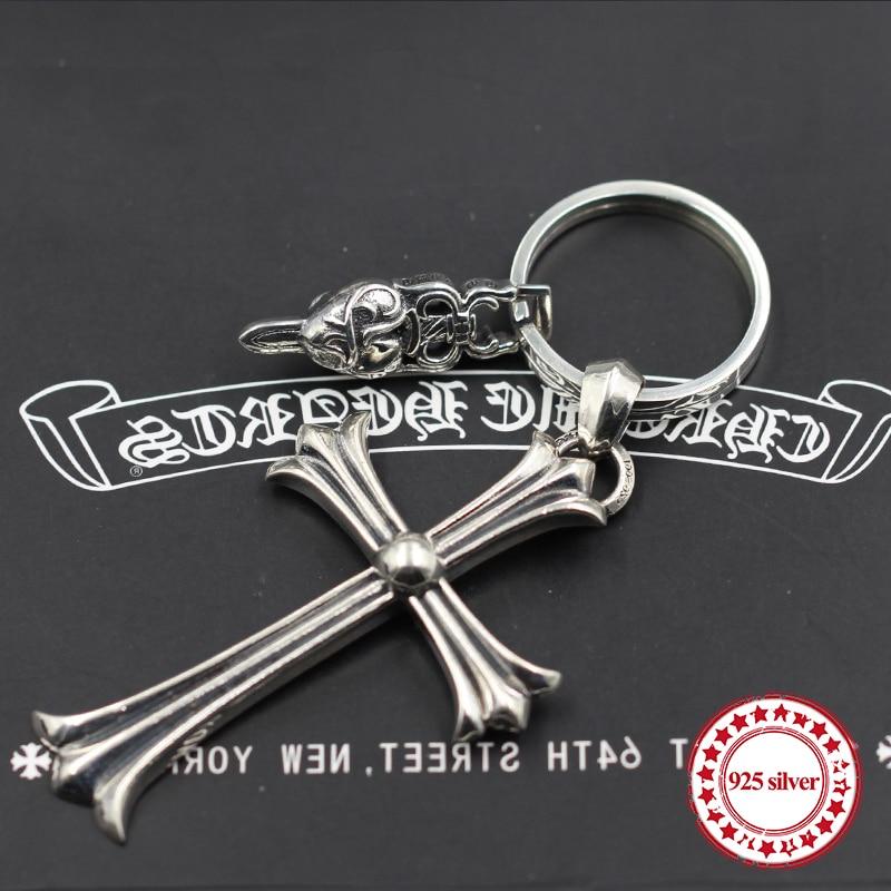 S925 porte-clés en argent sterling pour hommes personnalité classique style punk hip-hop croix dague modélisation cadeaux pour envoyer des bijoux amoureux