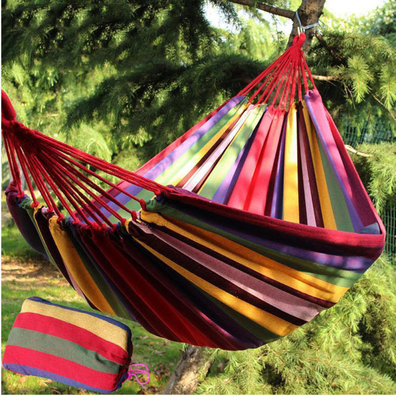 One person Rainbow Stripe Hammock 280*80cm Cotton Rope Outdoor Swing Fabric Camping Hanging Canvas Bed