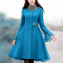 Размера плюс 3XL! Новое Осеннее зимнее винтажное приталенное шерстяное пальто с длинным рукавом Женское шерстяное пальто с круглым вырезом из органзы в стиле пэчворк