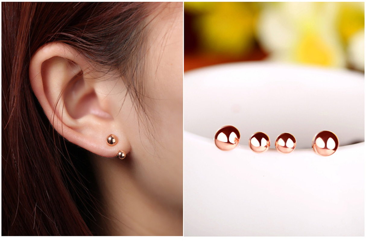 18k Rose Yellow Gold Women  Female Stud Earrings 2 Balls Fine Engaged Jewelry Gift Hot Sale Trendy Party Gift18k Rose Yellow Gold Women  Female Stud Earrings 2 Balls Fine Engaged Jewelry Gift Hot Sale Trendy Party Gift