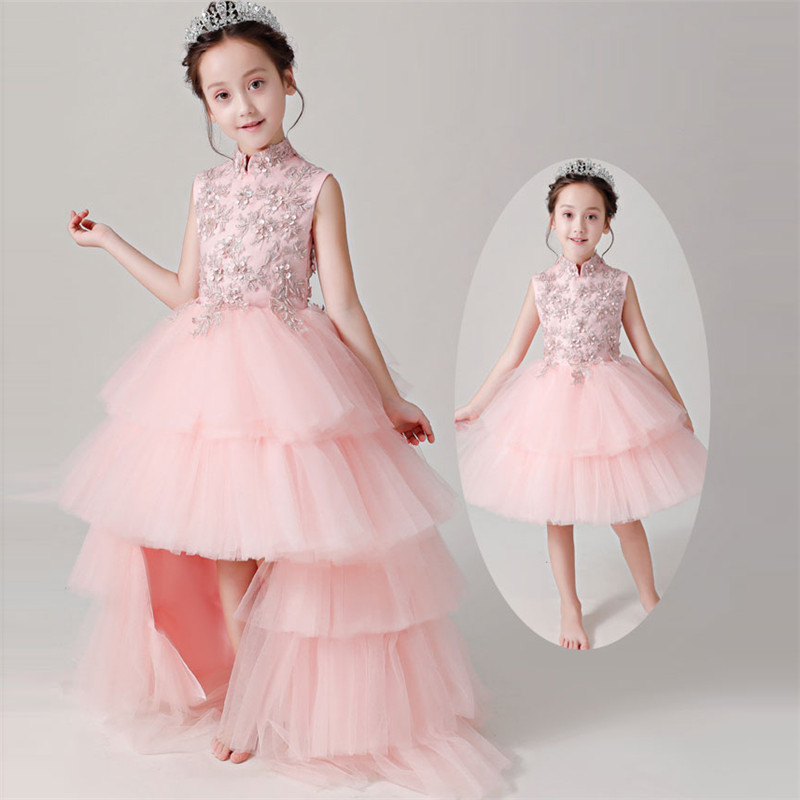 2018 Elegant Pink Color Children Kids Birthday Wedding Party Princess Tutu Dress With Mesh Tail Girls Costume Halloween Dress