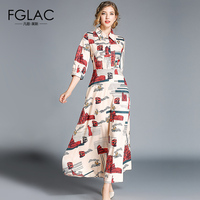 FGLAC Women dress New Arrivals Fashion Print Vintage vestidos Elegant Slim A Ling long dress Plus size women autumn dresses