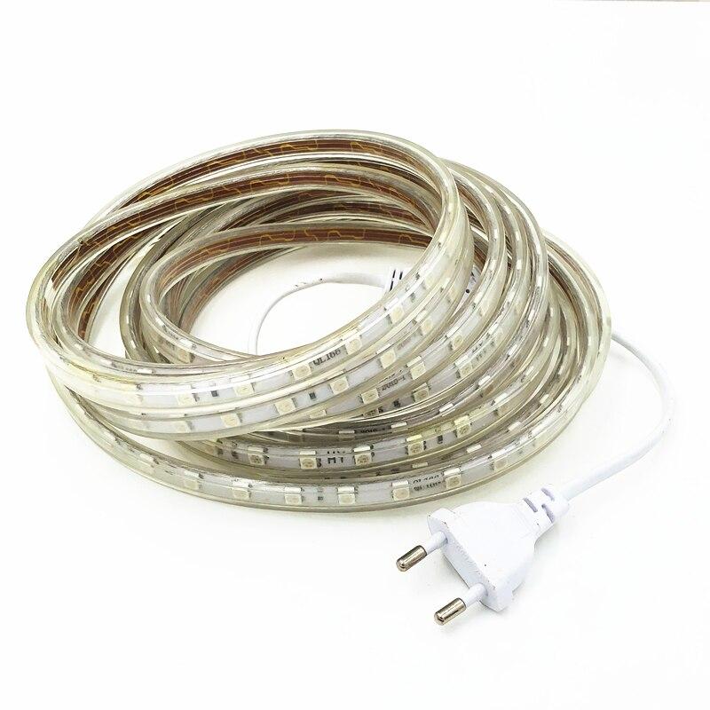 SMD 5050 AC220V LED Strip Flexible Waterproof  Light 60leds/m RGB Led Tape LED Light With Power Plug 1M/2M/3M/5M/10M/15M/20M/25M