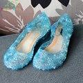 Niñas crystal dancing shoes niños sandalias niños sandalias chaussure enfant anna elsa princesa de la manera de la vendimia del partido shoes c184