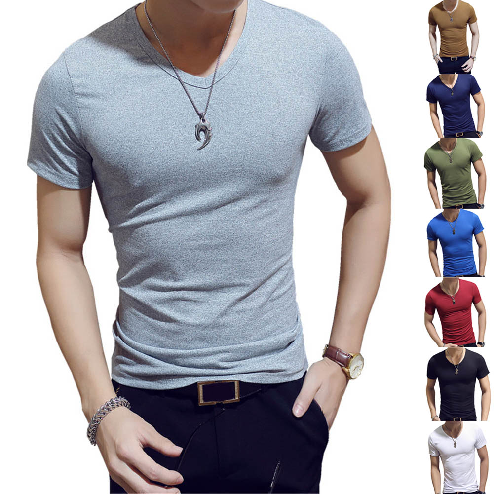 Korean Summer Men T-Shirt Short Sleeve V Neck Solid Color Tops  Fitness Casual Shirts JL