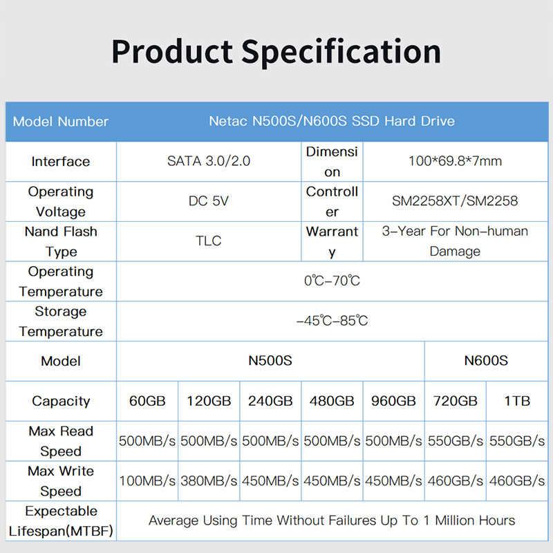 Netac SSD 120GB 240GB 480GB 960GB SATA3 HDD Hard Disk SSD Laptop PC 120 240  480 720 G 1TB N500S/N600S Internal Solid State Drive
