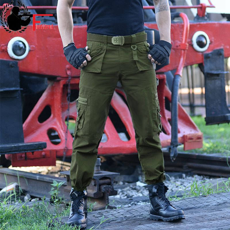 Field Lived Casual Army Joggers Men's Tactical Many Pocket Zipper Cargo Pants Combat Cotton Straight Male Trousers Green Black