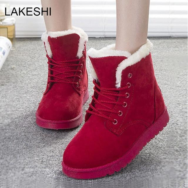 Lakeshi ботинки женщин 2016 моды снег botas mujer женская обувь зимние ботинки теплые меховые ботильоны для женщин зимней обуви