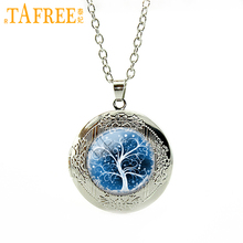 TAFREE Hot selling tree Necklace Photo locket pendant necklace Glass dome art photo pendant With silver chain for women WNK195