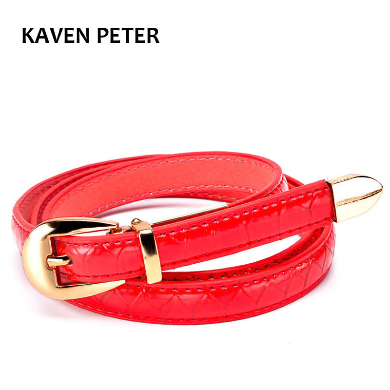 High Fashion Women Belts Luxury Brand Red Faux Crocodile Leather Designer Lady Thin Dress Belts With Gold Metal Buckle And End