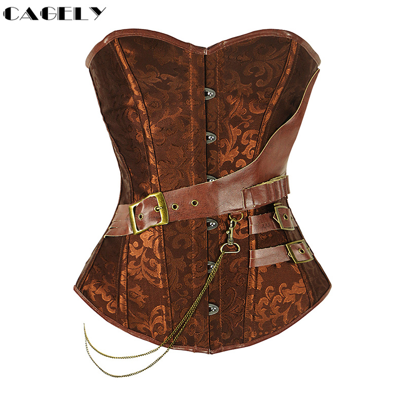 Steampunk Corset with Chain Buckles Retro Cosplay Fancy Party Outfits Pirate Girl Dress Coffee Black Lacing-up Basque Top S-6XL