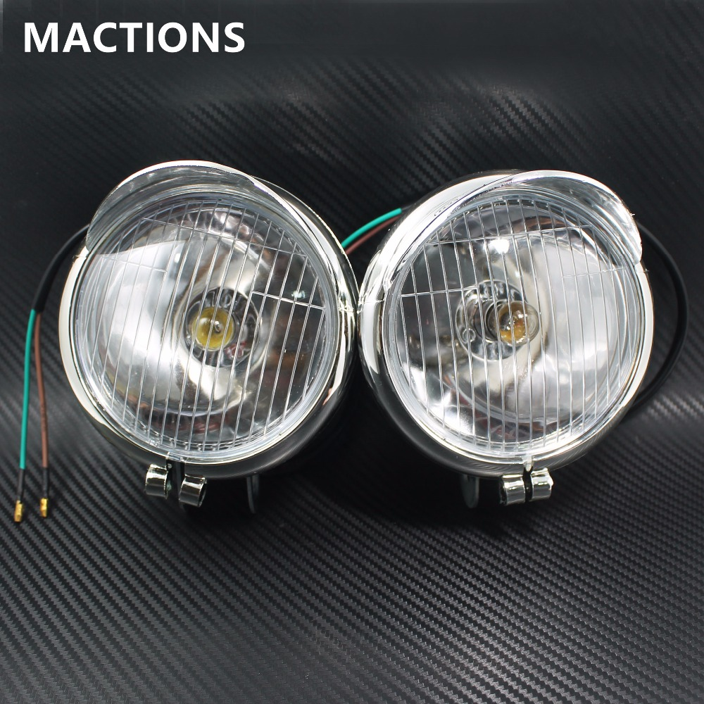 1 Pair Chrome Motorcycle Fog Lights Headlight Lamp Universal DC12V For Universal Motorcycles