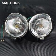 1 пара Chrome Противотуманные фары для мотоцикла лампы фар Универсальный DC12V Для Универсальные мотоциклы