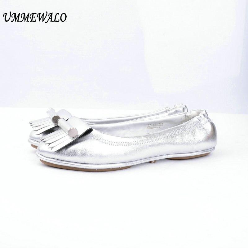 UMMEWALO Flat Shoes Women Genuine Leather Soft Ballet Flats Fashion High Qualiy Round Toe Ballerina Shoes