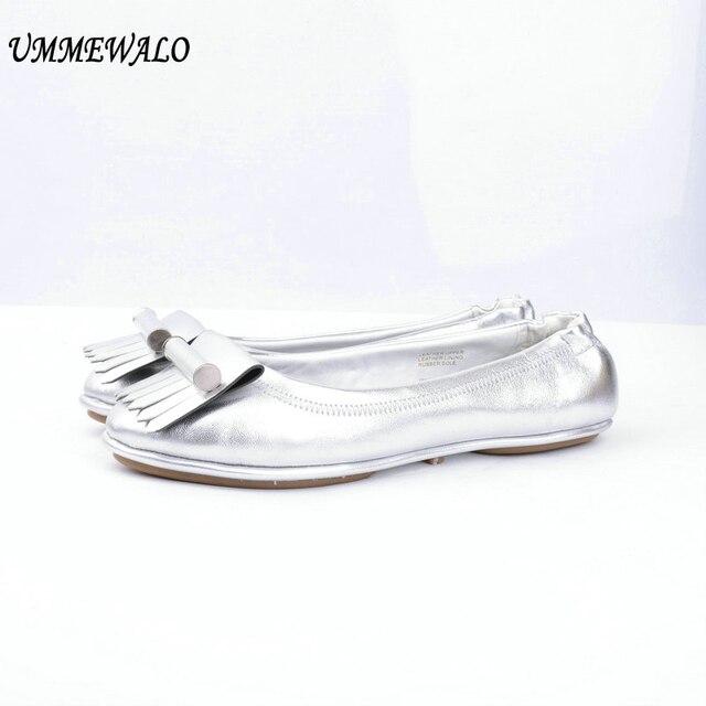 UMMEWALO düz ayakkabı Kadın Hakiki Deri Yumuşak Bale Daireler Moda Yüksek Kaliteli Yuvarlak Ayak balerin ayakkabıları Bayanlar rahat ayakkabılar