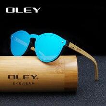 купить OLEY  Brand Bamboo Leg Color Film Sunglasses Women Classic Round Overall Flat Lens Fashion Retro Female sun glasses Z0479 дешево