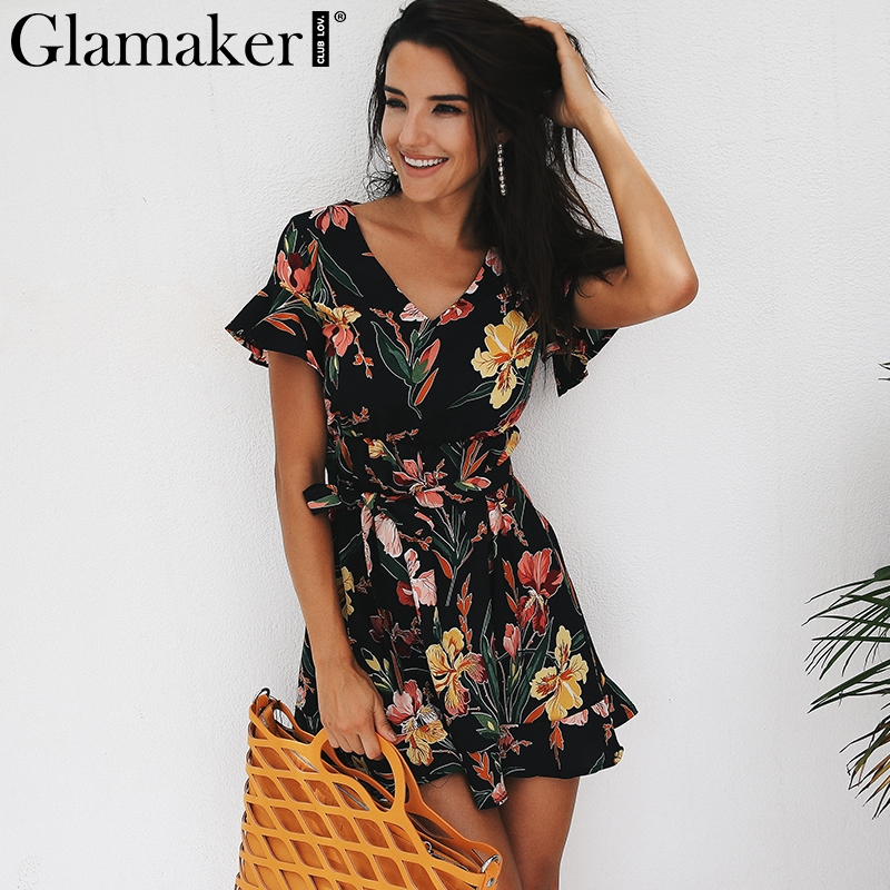 Glamaker boho Dress Glamaker Boho ruffle v neck chiffon autumn dress women Flower print beach  dress Casual high waist bow belt vestido de festa