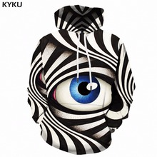 KYKU Eye Hoodie Men Black And White 3d Hoodies Psychedelic Printed Sweatshirt Hooded Gothic Anime Mens Clothing Casual Winter black and white colour matching drawstring hooded hoodie