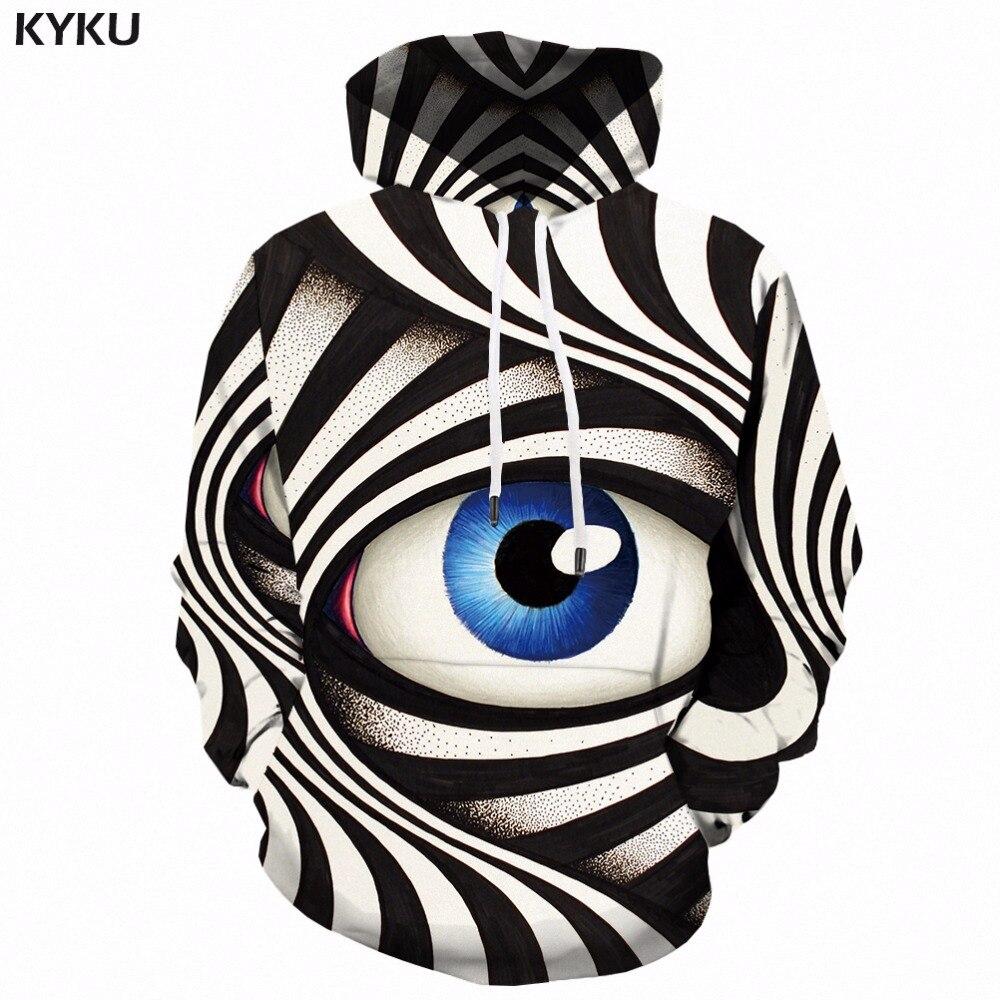 KYKU Eye à capuche hommes noir et blanc 3d Hoodies psychédélique imprimé sweat à capuche gothique Anime hommes vêtements décontracté hiver